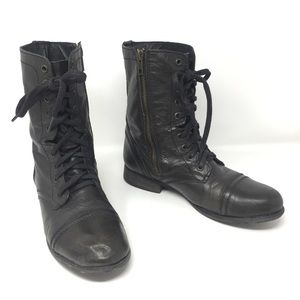 Steve Madden Troopa Leather Combat Moto Boots 8
